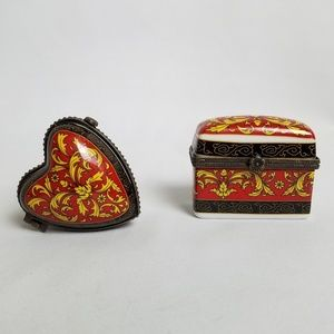 Vintage 2 small ceramic trinket boxes